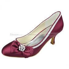 wedding shoes kitten heel uk toe kitten heel pumps burgundy satin with bowknot bridal