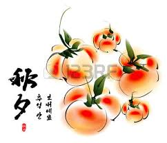 vector ink painting of persimmons for korean chuseok mid autumn