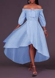 light blue and white striped maxi dress light blue striped bandeau irregular draped off shoulder high low