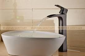 Black Vessel Sink Faucet Polished Black Countertop Waterfall Basin Vessel Sink Faucet Deck