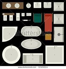 Elements Bathroom Furniture Icons Set Bathroom Furniture Elements Top Stock Vector 571050514