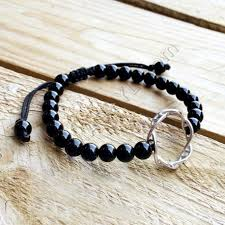 bracelet man onyx images Silver dna bracelet with onyx stones dna bracelet science jpg