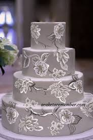 design a cake grey brush embroidery wedding cake design