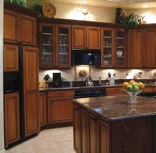decor dark wood kitchen cabinets with under cabinet lighting and