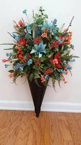 Wall Sconce Floral Arrangements Wall Sconce Brown Black Wood Teal Aqua Blue Coral Peach Orange