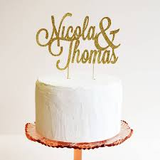 personalised name wedding cake topper by may contain glitter