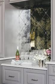 Antiqued Mirror Herringbone Bar Backsplash Transitional Kitchen - Bar backsplash
