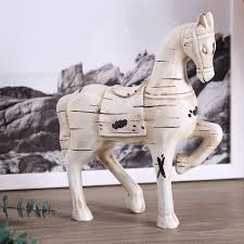 horse statue home decor resin trojan horse decoration horse figurine crafts gifts retro