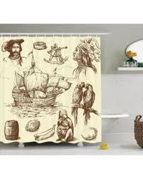 deals on nautical decor shower curtain set merchant ship banana