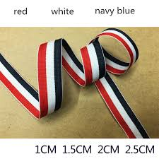 navy blue and white striped ribbon 50 meters lot white and navy blue striped ribbon three woven