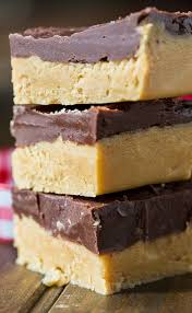 buckeye fudge with a layer of peanut er topped with chocolate