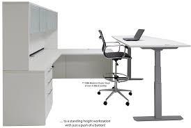 electric lift adjule height white u desk w hutch