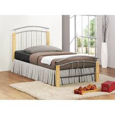 single bedroom birlea tetras beech wood u0026 silver metal single bed frame