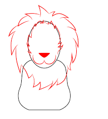 how to draw a cartoon lion face
