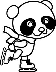 coloring pages animals skatingpanda shu black white panda