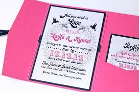 Pink Wedding Invitations Layla Pocket Fold Wedding Invitation Sample Pink Navy Blue