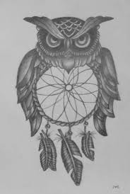 items similar to owl with dream catcher pencil drawing print a4