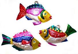 asst fish ornaments 4 set of 6 company