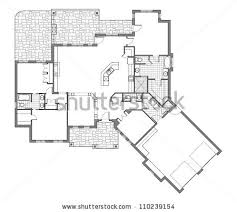 Large Bungalow Floor Plans Split Level House Floor Plan Stock Illustration 112905742