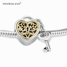 s day charms pandulaso golden heart lock key silver fit diy silver
