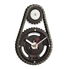 Unique Clock by Auto Timing Chain And Gears Wall Clock Industrial Wall Clocks