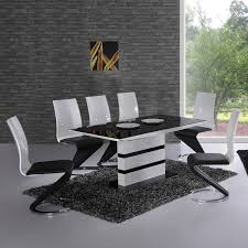 Arctica White Extending Black Glass Dining Table And - Black and white dining table with chairs