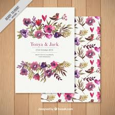 Wedding Card Design Background Wedding Invitation Decorated With A Floral Background Free Vector
