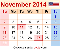 november 2014 calendars for word excel pdf
