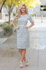 downeast dresses gray damask print modest dress east basics modest