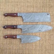 custom kitchen knives for sale handmade damascus steel kitchen knives set of 3 chef s knives