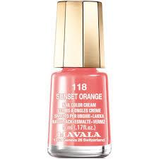 Sunset Orange by Mavala Mini Nail Color Creme Nail Polish Sunset Orange 118 5ml