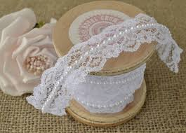 lace ribbon white pearl and lace beaded trimming vintage style wedding