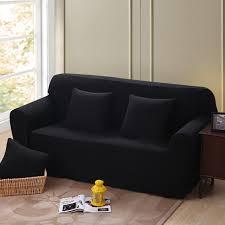 sofa hussen stretch einfarbig ecksofa abdeckungen für wohnzimmer mehr größe schwarz