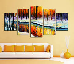 5 piece canvas wall art hand painted palette knife oil 5 panel wall decor modern art set forest river in cold winter