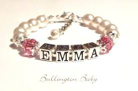 Baby Name Bracelet Hand Made Baby Name And Birthstone Bracelet By Bullington Baby