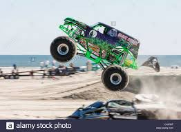 monster jam grave digger truck grave digger monster truck at show competition on the beach stock