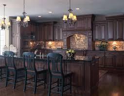 Stone Backsplash Kitchen by Old World Style Kitchen With Stone Backsplash Dark Wood Floors