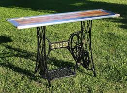 Upcycled Console Table Upcycled Yardstick U0026 Singer Sewing Machine Base Console Hall Table