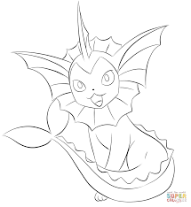 vaporeon coloring page free printable coloring pages