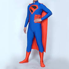 the king superman blue and red spandex lycra cosplay zentai