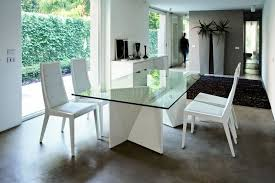 Glass Top Pedestal Dining Room Tables Modern Dining Table W Two Pedestal Legs Glass Top Throughout