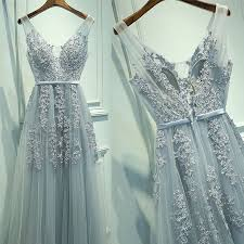 lace appliqued prom dress silver tulle long formal dresses long