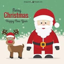 vintage card with santa and reindeer vector free