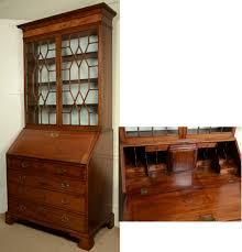 antique english mahogany chippendale slant front glazed astragal