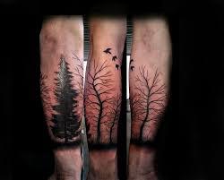 trees birds black work tattoomagz
