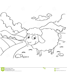 sheep colouring pages vector stock vector image 59306248