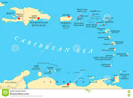 Map Of The Caribbean Sea by Lesser Antilles Political Map Stock Vector Image 81734642