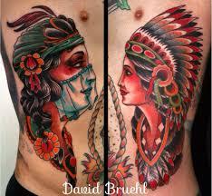 indian headdress tattoo on ribs colorful traditional western americana tattoo folk gypsy girl with