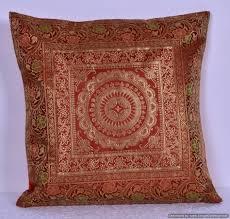 Brocade Home Decor Indian Ethnic Mandala Silk Brocade Cushion Cover Throw Handmade