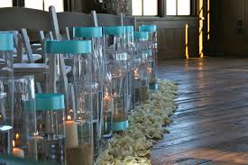 Tiffany Blue Wedding Centerpiece Ideas by Hurricanes With Ribbons Large Hurricane Vases With Candles